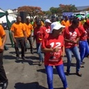 Edgars staff provide entertainment during the street cleaning exercise